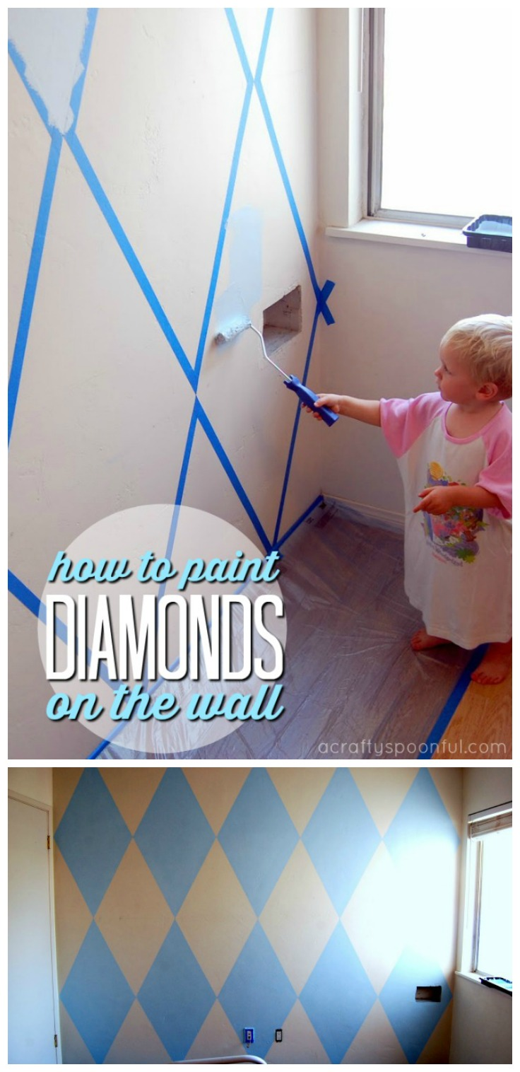 We're sharing one of our nursery ideas with this tutorial on how to paint diamonds on a wall. It's the perfect backdrop for our daughter's crib and really completes the new nursery.