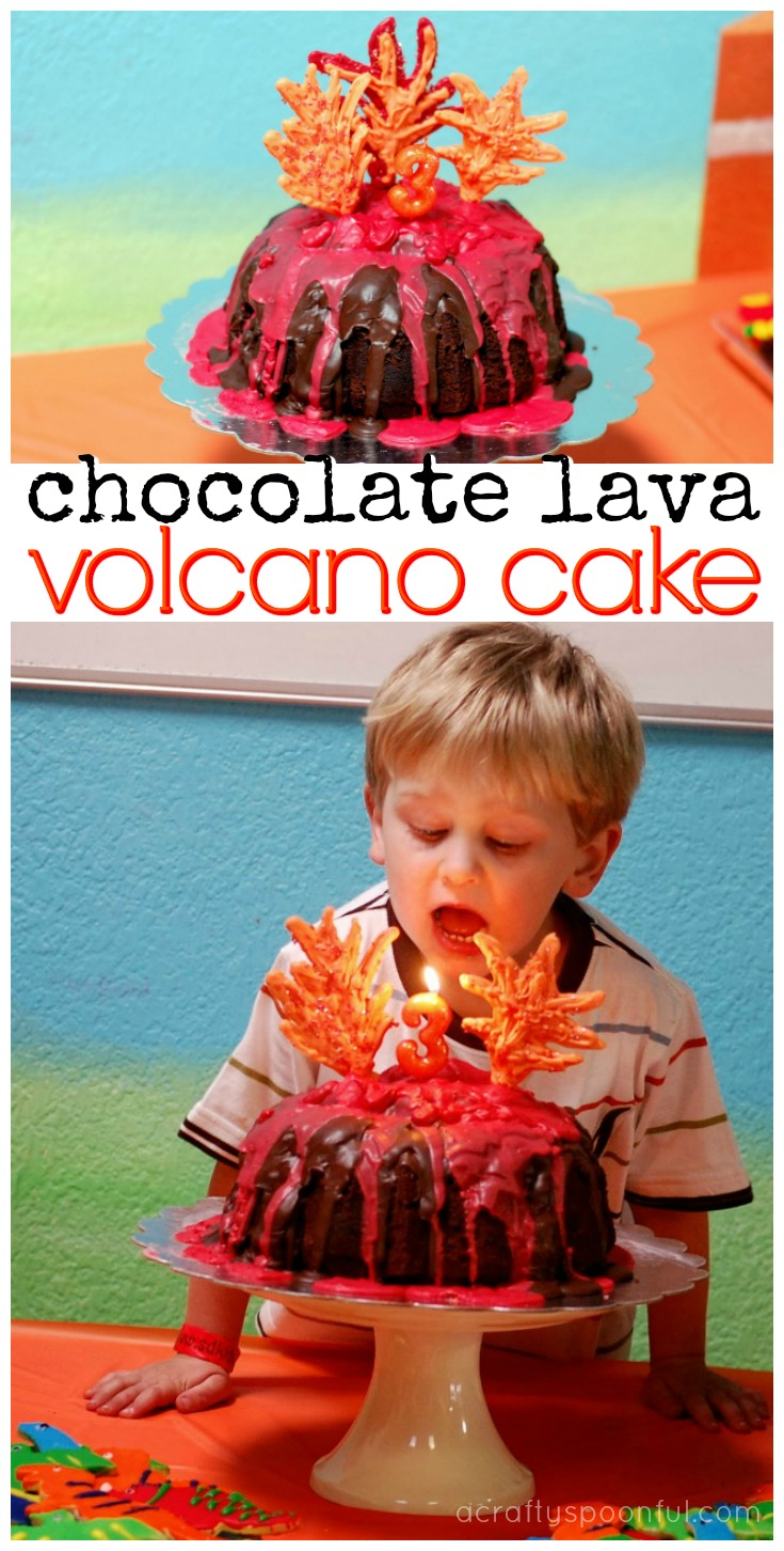 This easy tutorial on how to make a chocolate lava volcano cake will help you create the perfect dino-themed cake.