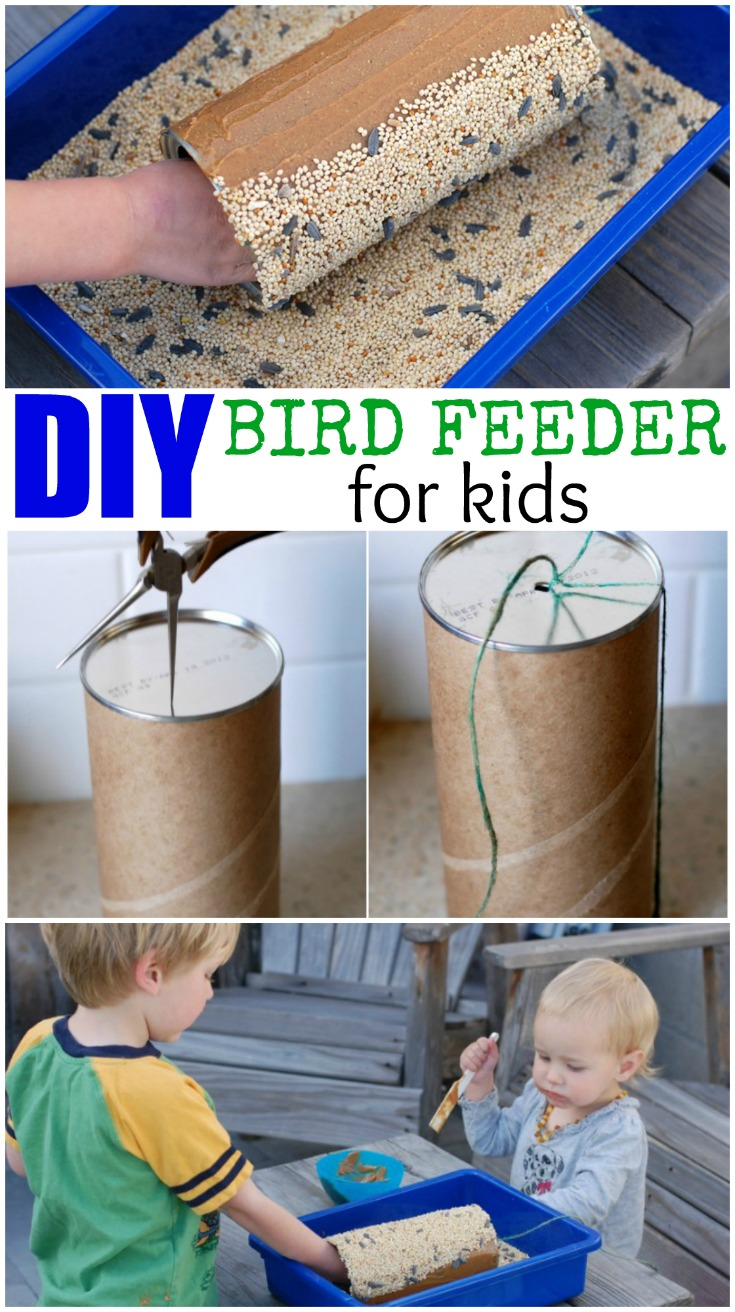 This DIY Bird Feeder for Kids is a fun and easy craft for kids to make. Once they hang it up they can enjoy the birds who come to eat from it and explore nature up close.
