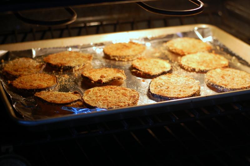 Eggplant Parmesan baking