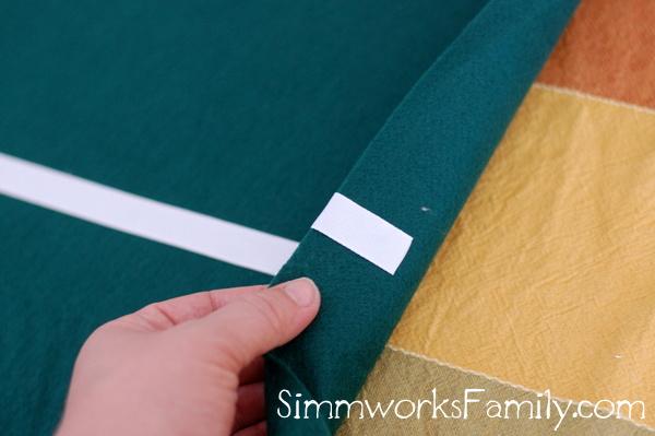 Football Table Runner gluing edges
