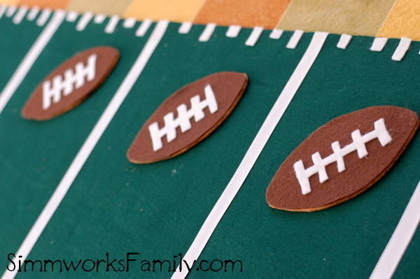 Football Table Runner finished footballs and runner