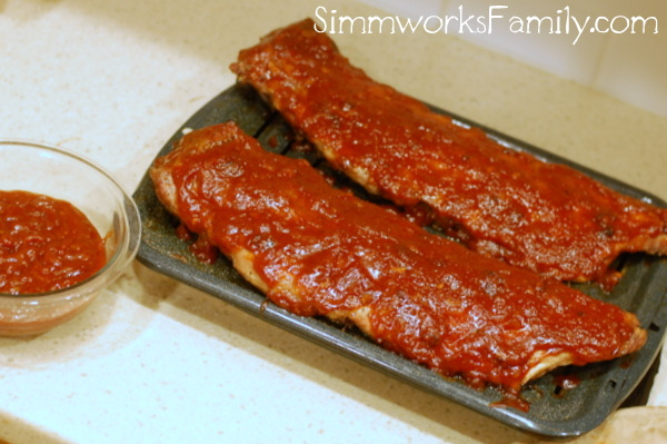 Ribs with BBQ Sauce cooked ribs