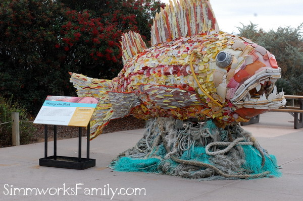 Living Coast Discovery Center recycled trash art exhibit