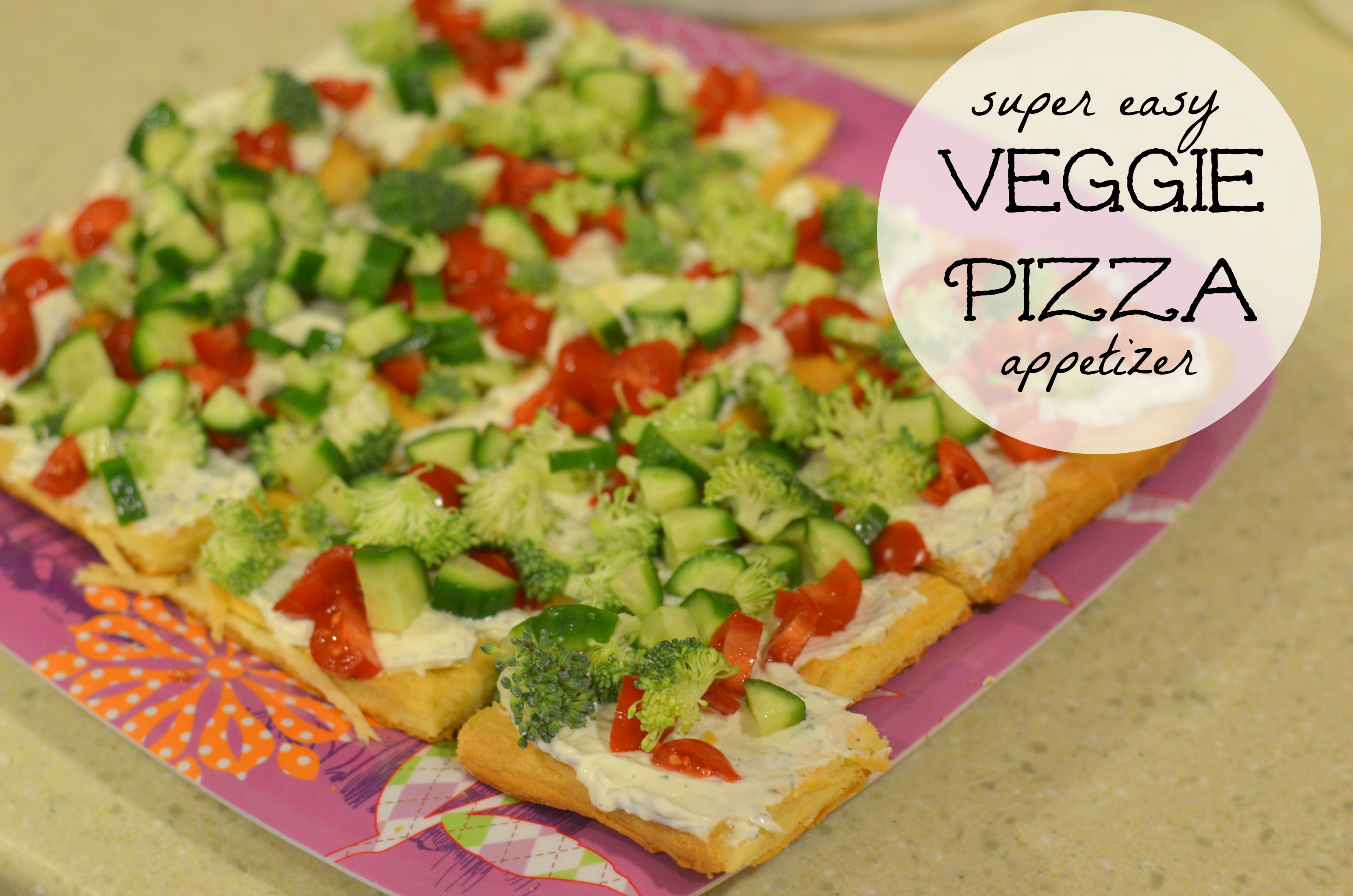 Veggie Pizza Appetizer Recipe with Ranch