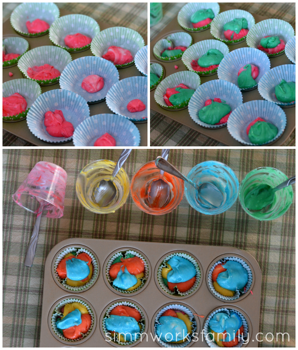 Rainbow Cupcakes filling the liners