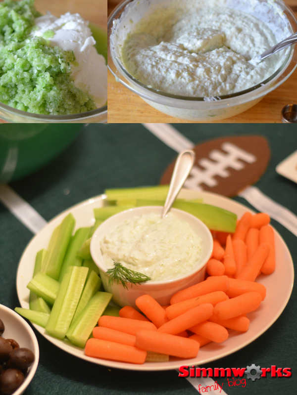 Tzatziki dip mixed and served