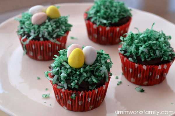 Easter Egg Cupcake Baskets eggs in basket