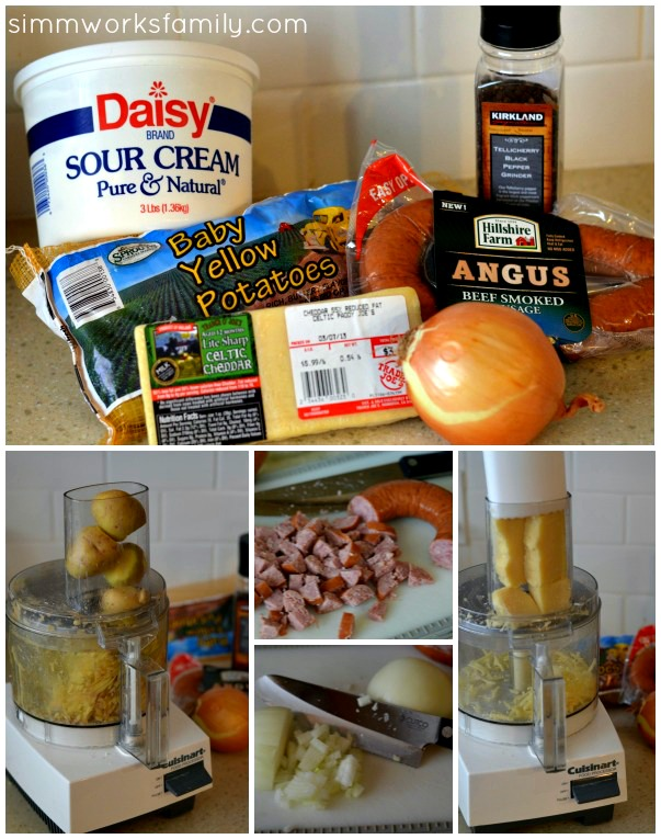 Hashbrown Casserole with Sausage ingredients