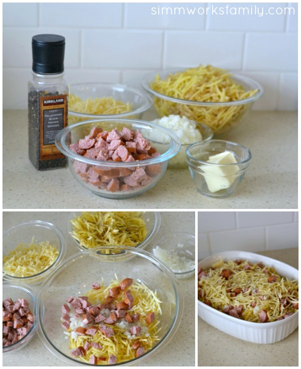 Hashbrown Casserole with Sausage mix and prep