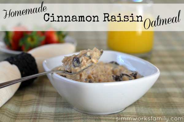 Homemade Cinnamon Raisin Oatmeal recipe on spoon