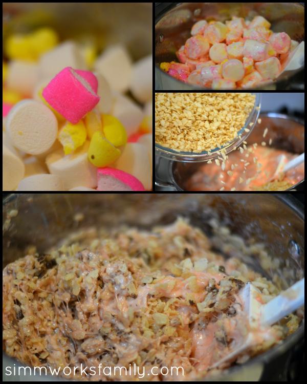 Peeps Rice Krispie Treats mixing marshmallows
