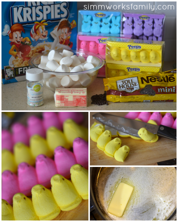 Peeps Rice Krispie Treats prep