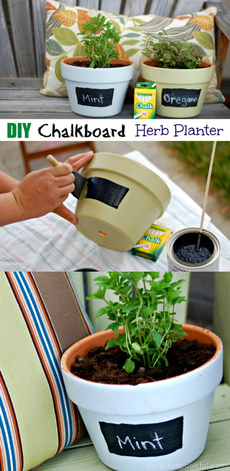 This DIY chalkboard herb planter turns regular clay pots into beautiful and fun places to grow your herbs! Use smaller pots for an indoor garden and larger for outside! Don't forget to get the kids involved!