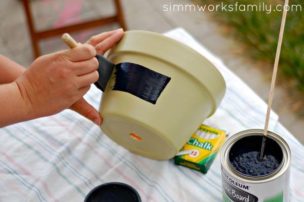 DIY Chalkboard Herb Planter painting chalkboard sign