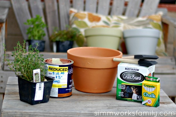 DIY Chalkboard Herb Planter material