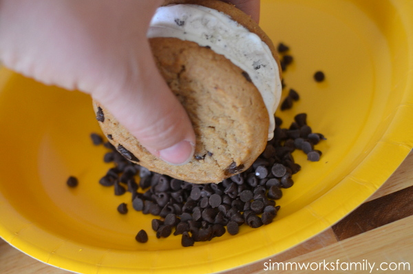 First Street Ice Cream Cookie Sandwich #ChooseSmart  roll into mini chocolate chips (or sprinkles)