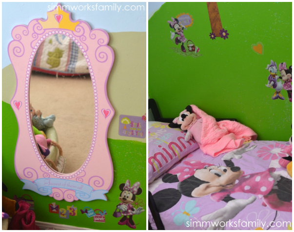 Glidden Disney Paint Minnie Mouse Makeover - princess mirror and bedding