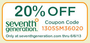 Seventh Generation products 20 percent off