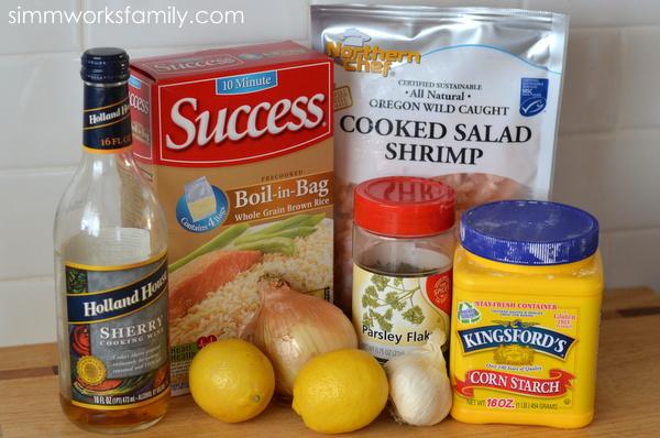 10 Minute Dinners lemon garlic shrimp ingredients