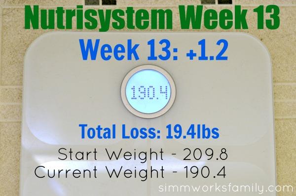 Nutrisystem Weight Loss Week 13