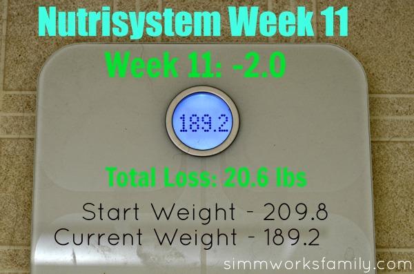 Nutrisystem Weight Loss week 11