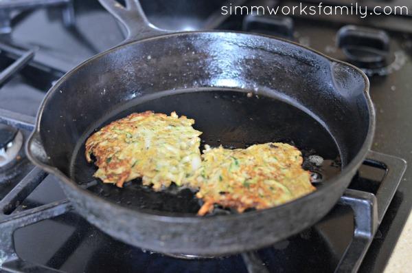 Sweet Potato Zucchini Latkes in pan