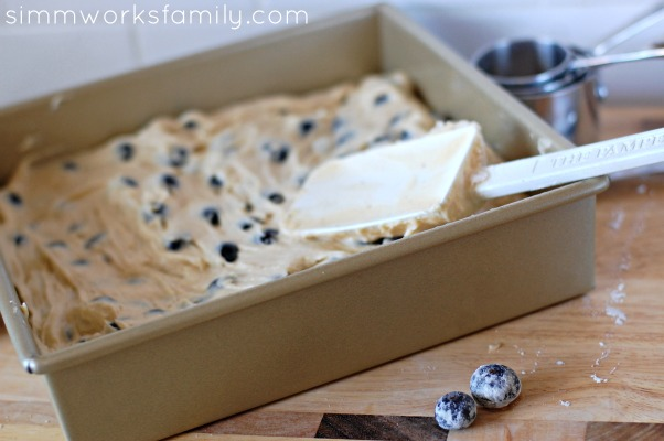 Blueberry Coffee Cake mix in pan
