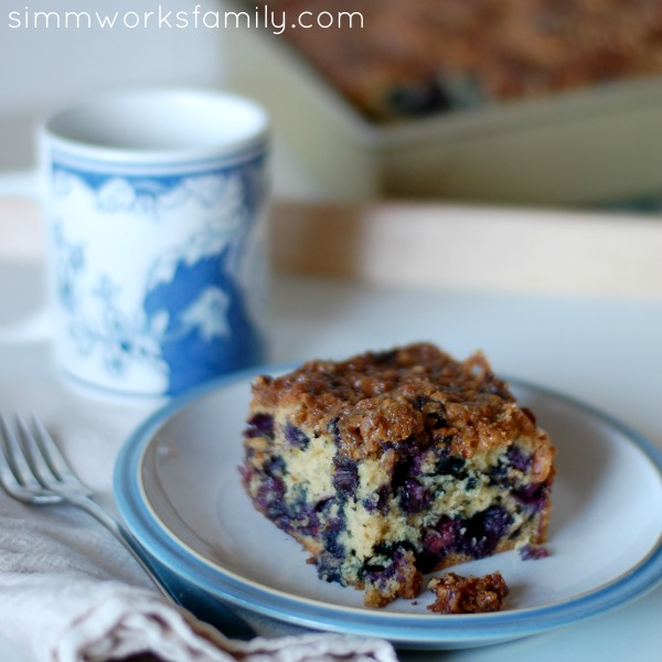 blueberry coffee cake piece with coffee