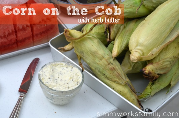 BBQ corn on the cob with herb butter