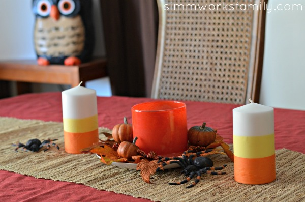 DIY Candy Corn Candles Halloween Centerpiece Idea