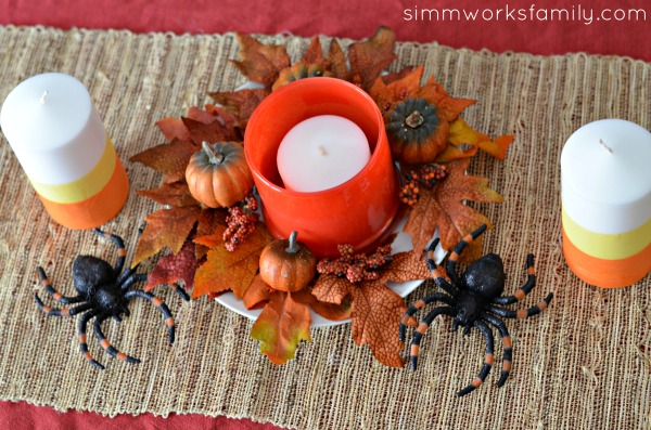 DIY Candy Corn Candles Halloween Centerpiece