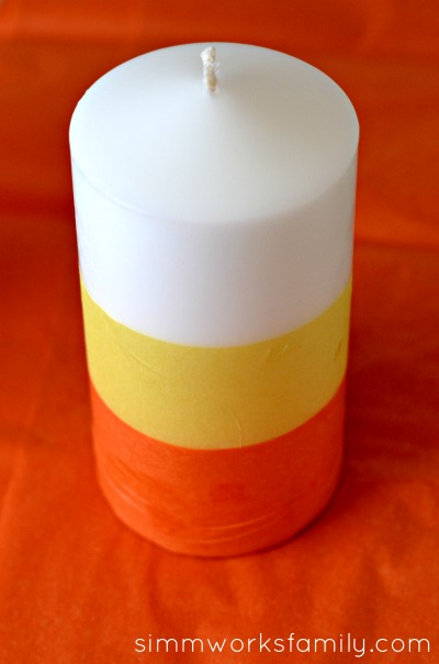 DIY Candy Corn Candles for Halloween