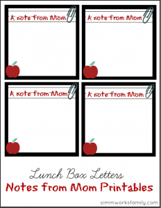 Lunch Box Letters Notes From Mom Printables PDF