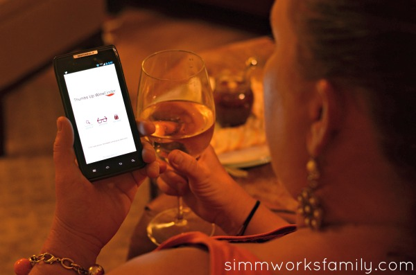 Thumbs Up Wine Finder App in use