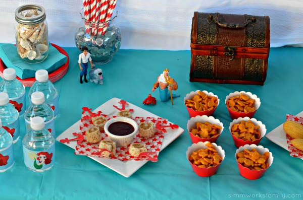 The Little Mermaid Party Ideas food spread and water bottles #shop