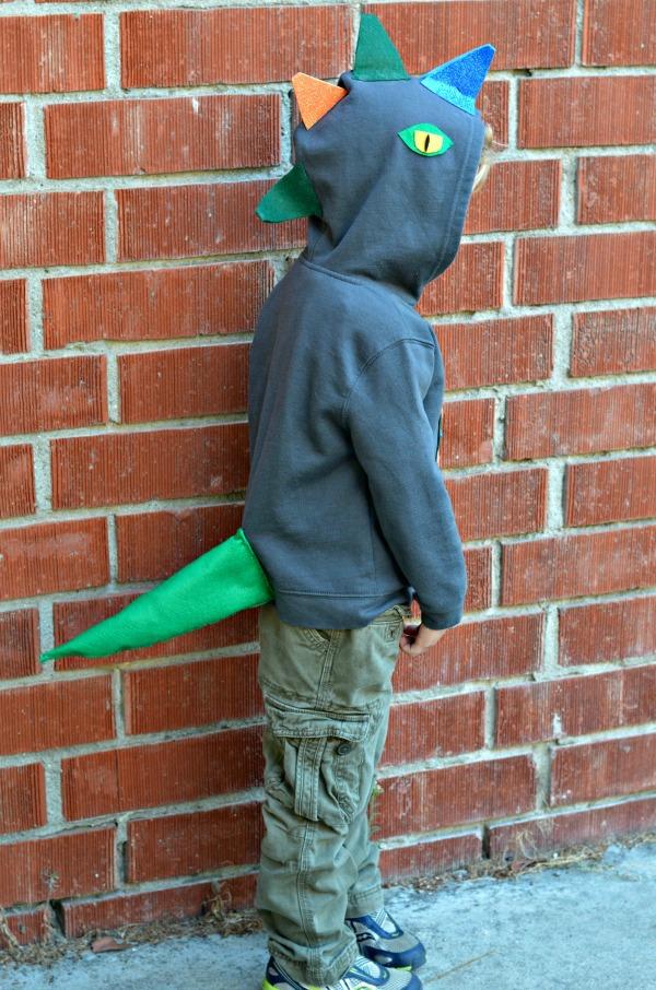 DIY Dinosaur Hoodie side profile