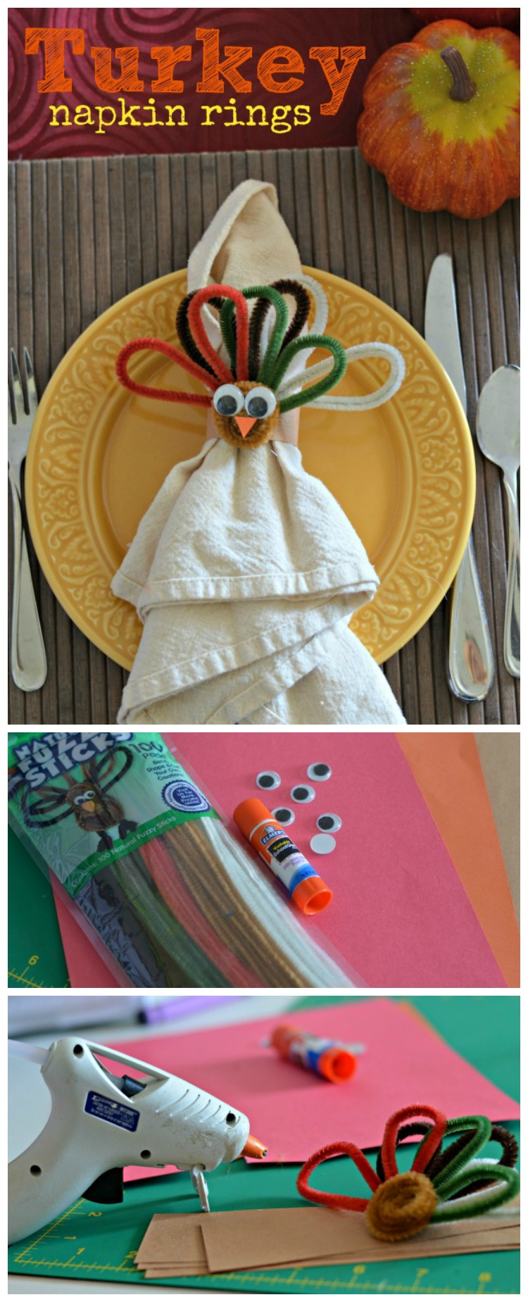 Looking for ways to make your Thanksgiving table festive? These turkey napkin rings will do just that! Grab a few supplies and get crafting!