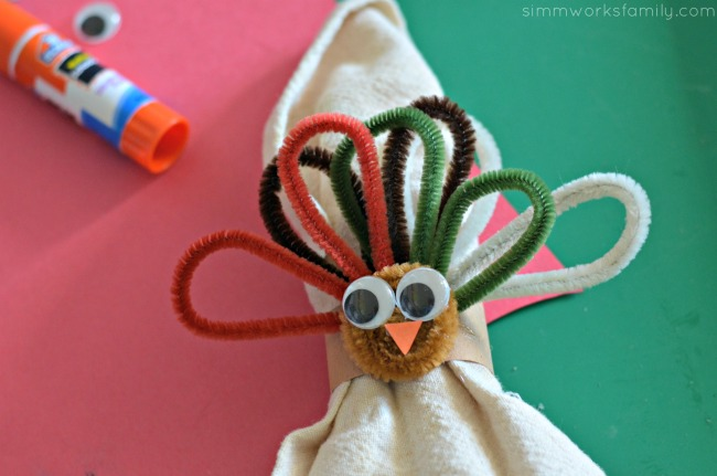 Turkey Napkin Rings glue turkey eyes and beak