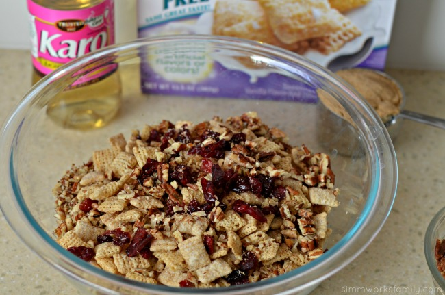 Vanilla Chex Cranberry Pecan Bars mix dry ingredients