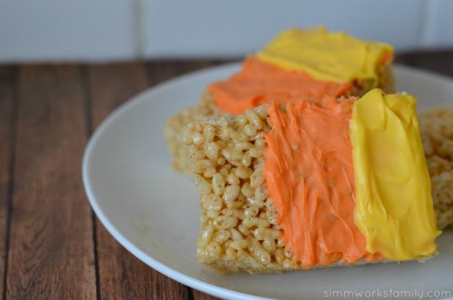 candy corn rice crispy treats up close