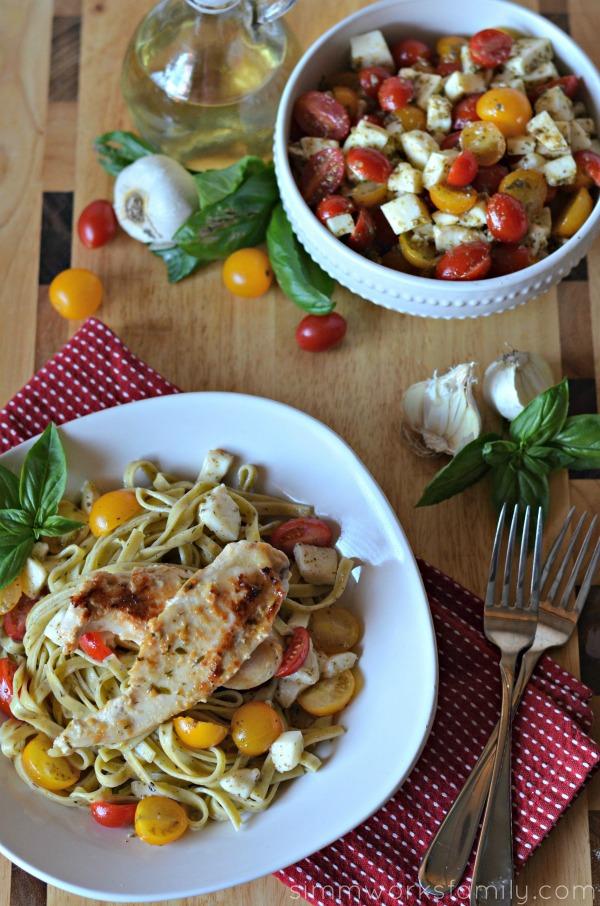 quick dinner recipes caprese salad pasta with chicken saute dish #shop #sauteexpress