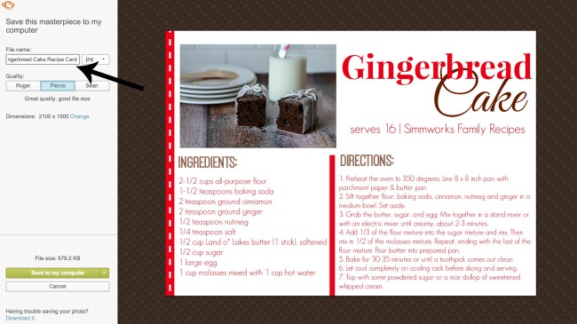 how to make a recipe card save card