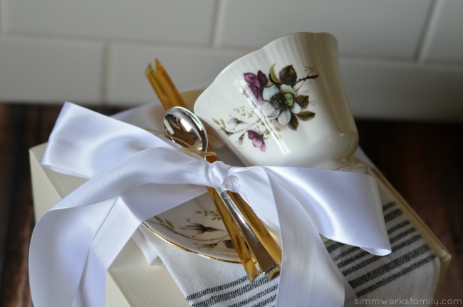 Perfect Hostess Gift for Tea with Bigelow tea cup and saucer on top #AmericasTea #shop