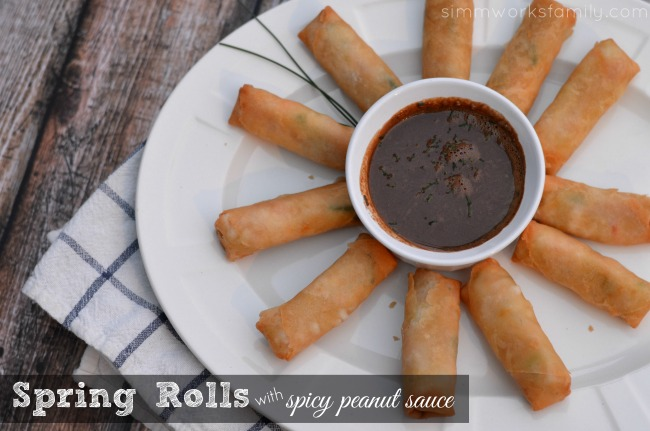 SeaPak Spring Rolls with Spicy Peanut Sauce #PakTheParty #shop