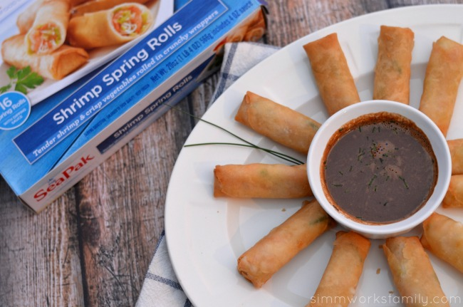 SeaPak Spring Rolls with Spicy Peanut Sauce served #PakTheParty #shop