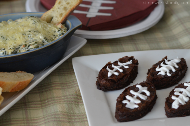 super bowl party food football brownies