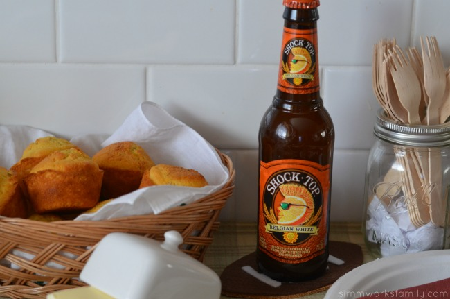 super bowl party food shock top belgian white
