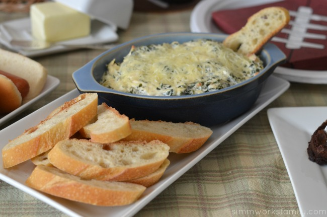 super bowl party food spinach artichoke dip
