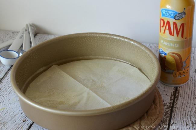 white party cake pan prepped